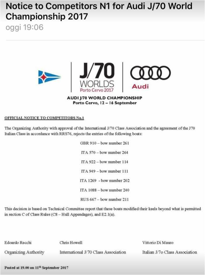 Notice to competitors J/70 World Championship