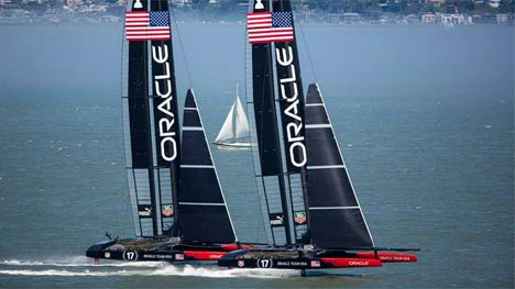 Oracle Team USA two boat tuning